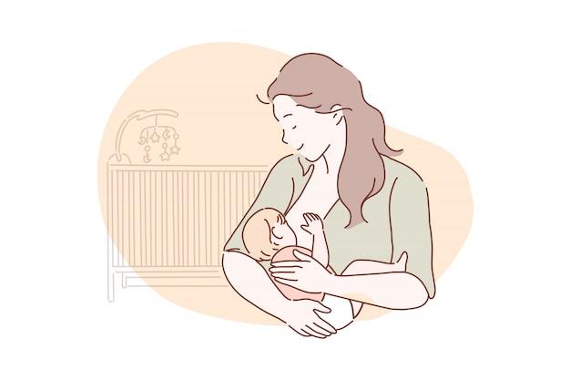 母乳育児、母性、子供時代のコンセプト。