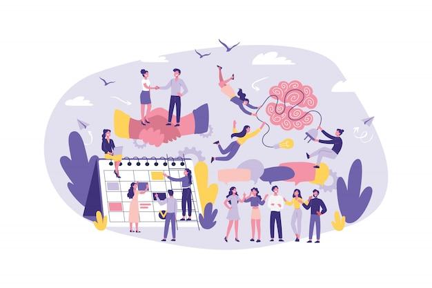Бизнес-концепция сотрудничество, сотрудничество, поддержка, аутсорсинг, партнерство, соглашение. совместная работа офисных служащих, менеджеров, юристов. мозговой штурм.