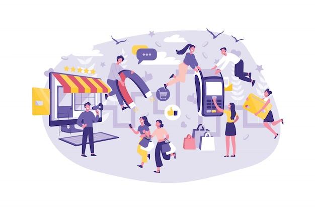 ビジネスコンセプトカスタマージャーニー、プランニング、サポート、広告。グループマネージャーは、サービスレベルを向上させます。ビジネスマンと観光客のチームワーク