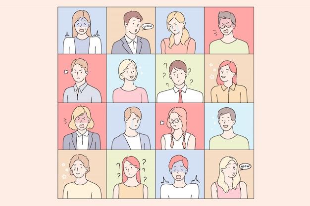 若い人々の感情セットコンセプト