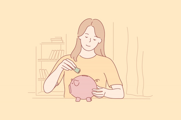 Деньги, сбережения, инвестиции, концепция бизнеса капитала.