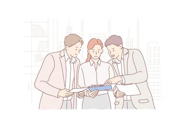 Встреча, коворкинг, работа в команде, обучение, анализ, бизнес-концепция.