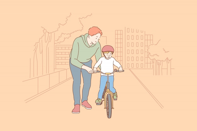 Отцовство, езда на велосипеде, детство, концепция обучения.