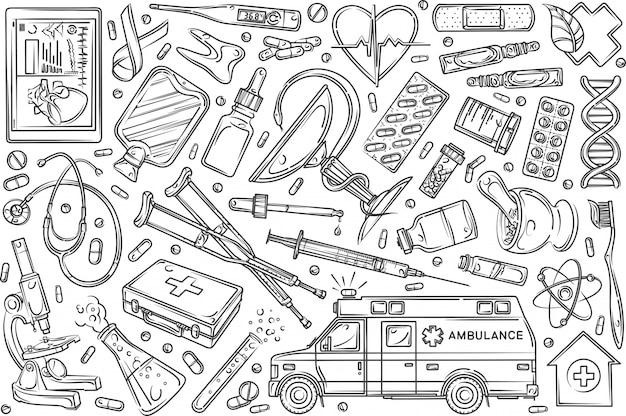 手描きのヘルスケアセット落書き背景