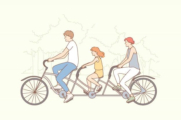 Семья, путешествия, езда на велосипеде, спорт, концепция деятельности