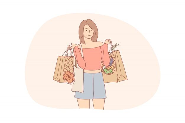 リサイクル、ショッピング、エコロジー、食品、廃棄物ゼロのコンセプト