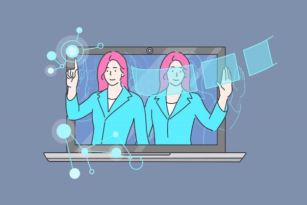 Бизнес, техническая помощь, консультирование, концепция набора искусственного интеллекта