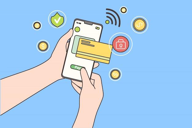 Онлайн оплата, технологии, покупки, концепция мобильного телефона