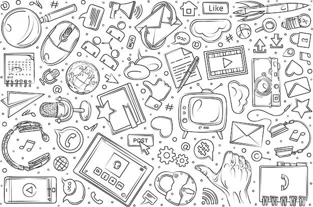 Ручной обращается социальные медиа набор каракули фон