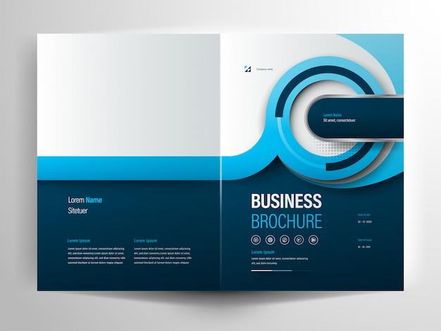 青い円ビジネスパンフレットレイアウトテンプレート