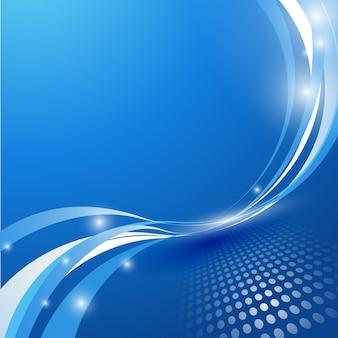 抽象的な青い背景線の波のベクトル