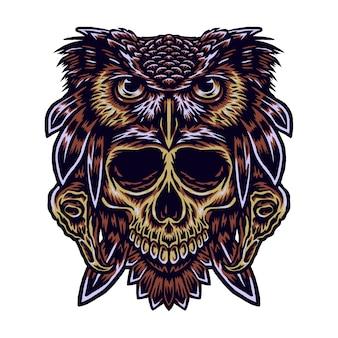 フクロウの頭蓋骨のベクトルイラスト