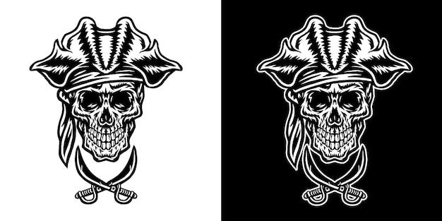 海賊の頭蓋骨のセット、暗い背景と明るい背景に分離