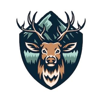 山と鹿のイラスト
