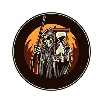 死神は銃火と砂時計を保持、デジタルカラー、ベクトル図で描かれた線を手