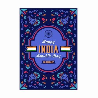 Счастливый день республики индии, шаблон плаката в стиле индийского искусства
