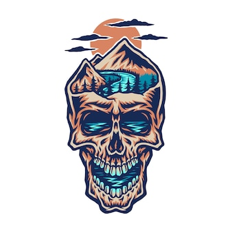 山の頭の頭蓋骨、デジタル色の手描きの線