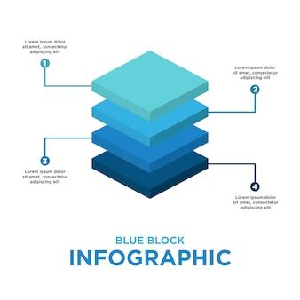 青色のブロックインフォグラフィックテンプレート