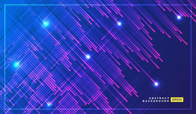 暗い空間を高速で飛んでいるネオンの光の粒子、流れ星
