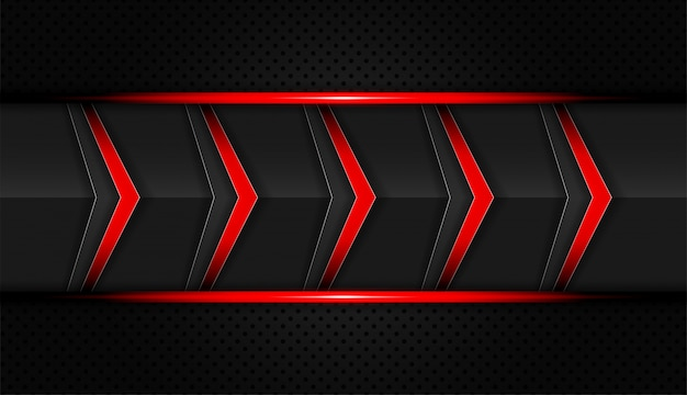 抽象的な赤と黒の色の技術矢印ベクトルの背景
