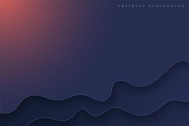 ダークブルーの紙アート漫画の抽象的な波