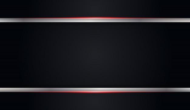赤い光沢のある線と抽象的な黒い金属の背景