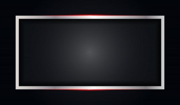 赤い光沢のあるラインと抽象的なフレームブラックメタリックな背景