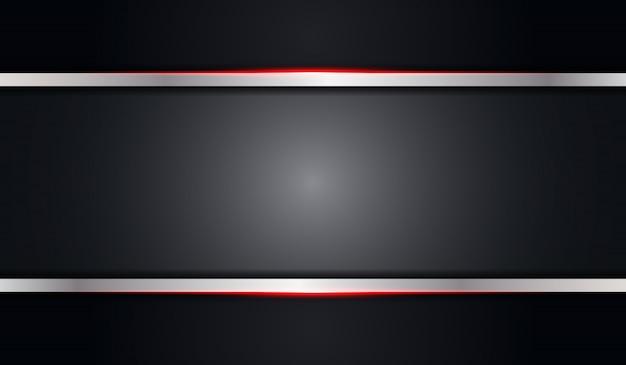 赤い光沢のあるラインと抽象的なグレーブラックメタリックな背景