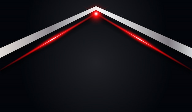 赤い光沢のあるラインと抽象的な矢印黒メタリックな背景
