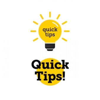 クイックヒント、役に立つトリックベクトルのロゴアイコンまたは黒と黄色の色と電球要素で設定されたシンボル