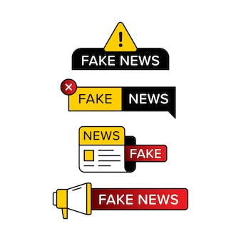 Набор поддельных новостей предупреждающий знак в различной форме и стиле. разработанный с восклицательным знаком газета и ручной динамик