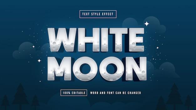 夜の白い月テキスト効果無料プレミアムダウンロードベクトル