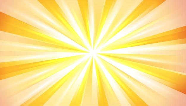黄色のオレンジ色の夏の太陽の光バースト