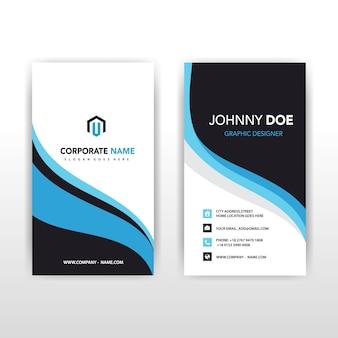 Синяя вертикальная волнистая визитная карточка
