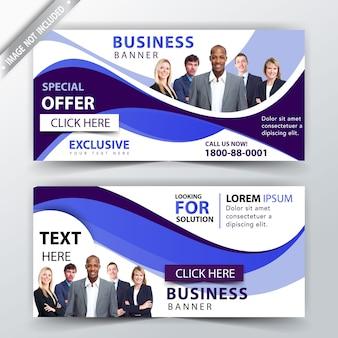 Современный бизнес-баннер в синей волне
