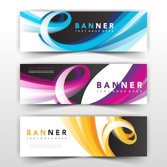 Дизайн волнистой баннерной коллекции