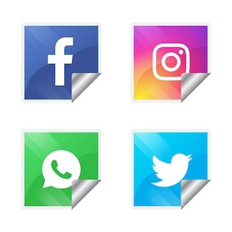 Четыре популярных значка социальных сетей
