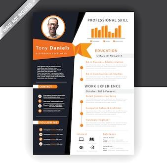 抽象的なオレンジ色の履歴書テンプレート