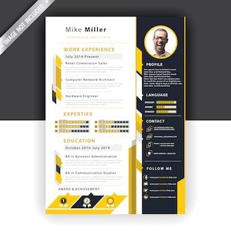 黄色い履歴書テンプレート