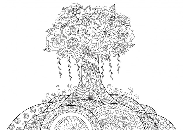 Фон с рисованной деревом