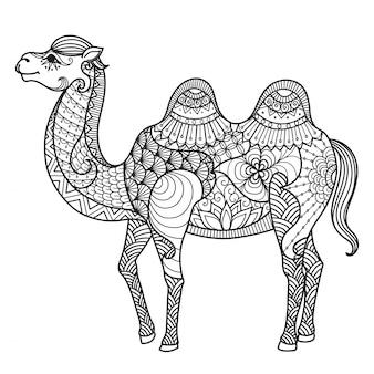 手で描かれたラクダの背景