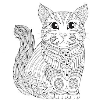 Фон с рисованной кошкой