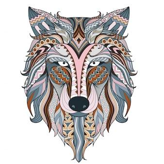 Цветная волчья этническая голова