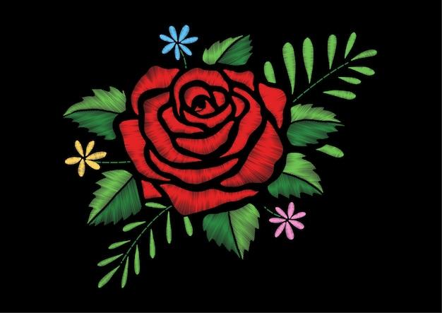 刺繍バラのデザイン