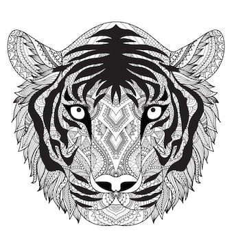 Рисованный тигр фон
