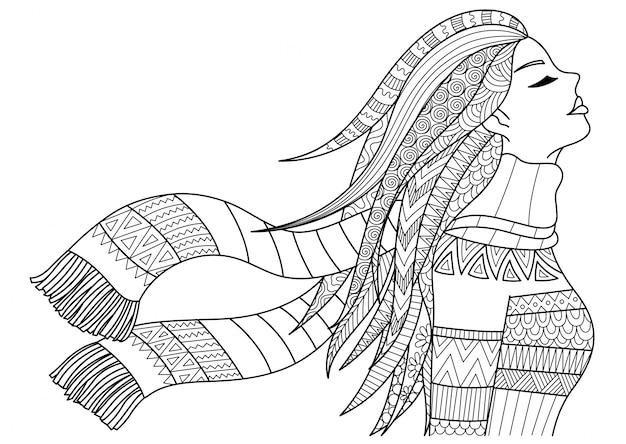 Ручная девушка в зимней одежде