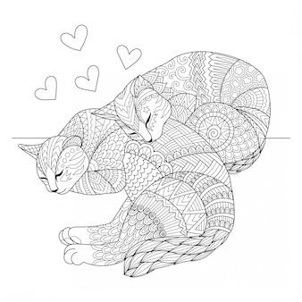 寝ているかわいい二匹の猫