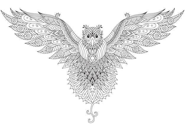 Фон с рисованной птицей