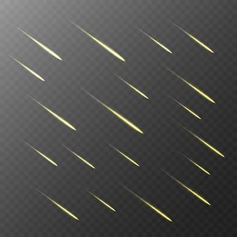 透明な背景に彗星の雨