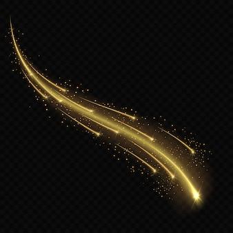流星や透明な背景の彗星。